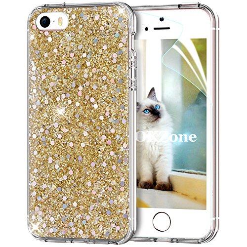OKZone iPhone SE Hülle,iPhone 5S Hülle,iPhone 5 Hülle, Luxus Glitzer Bling Designer Weich TPU Bumper Case Silikon Hülle Etui Cover TPU Bumper Schale für Apple iPhone 5/iPhone 5S/iPhone SE (Gold) (Iphone 5s Case Gold Diamant)