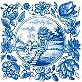 Glasbild Blaue Fliesenmalerei - Motiv 1 - Spaziergang im Park - Größe 20 x 20 cm