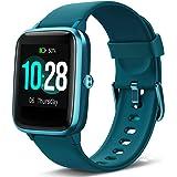 Lintelek Smartwatch, 1.3 Zoll Touch Farbdisplay Screen Fitness Armband 5ATM Wasserdicht Fitness Tracker mit Pulsmesser Schlafmonitor Schrittzähler für Damen Herren kompatibel IOS und Android