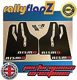 rallyflapz PARAFANGHI Parafanghi Set di 4 NERI LOGO BIANCO / Rosso (4mm PVC)