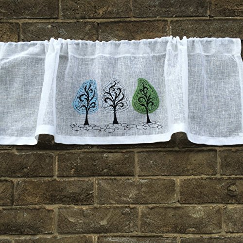 Sheer White Linen Valance with Coloured Lace Tree Embroidery Kitchen Curtain