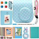 Katia Instant Camera Accessories for Fujifilm Instax Mini 9 Camera - Instax Mini 8 Camera Case Ice Blue/ Film Album/ Selfie Lens/ Filter/ Strap/ Photo Frame/ Stickers/ Hanging Frames - 9 in 1, Blue