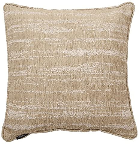 McAlister Textiles Textured Chenille   Extra Large Funky Metallic Bohemian Square Scatter Light Cream Beige Filled Cushions w/ Polyester Inner   60cm 24x 24