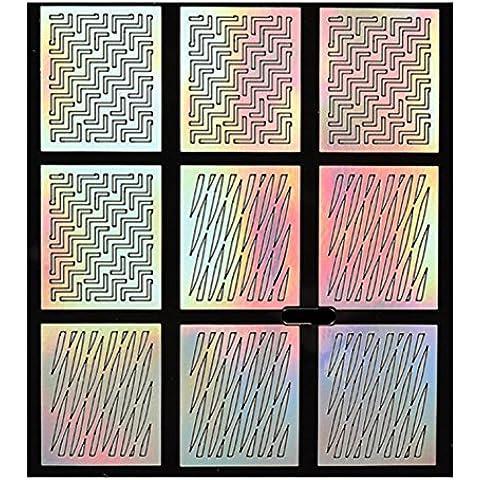 Nato Piuttosto 9 Consigli / Scheda Nail Laser Vinyls Vintage damasco di arte del chiodo del manicure Stencil Stickers NF213