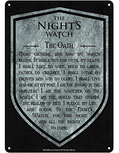 Game Of Thrones- Juego de Tronos Placa Juramento Guardia de la Noche Gris metálica 21x15cm (E1048152)