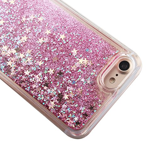 Custodia per iPhone 7 Case,Cover per iPhone 7,TOYYM - Love Heart Star Crystal Case Cover, Resistente Chiaro Trasparente [Bling Liquid] con divertente liquido flottante 3D con lussiosi glitter per iPho Color 7#