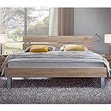 Pharao24 Bett mit geteiltem Kopfteil Sonoma Eiche Breite 146 cm Liegefläche 140x200 Stütz-Steg