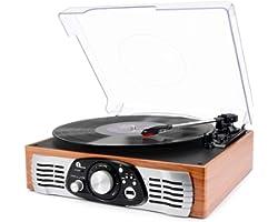 1 BY ONE Tocadiscos Estéreo de 3 velocidades con Altavoces incorporados, graba de Vinilos a MP3, Reproducer MP3, Salida RCA,