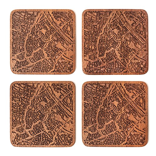 Vienna Map Coaster, Set Of 4, Sapele Wooden Coaster With City Map, Handmade