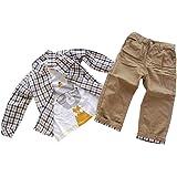 ggudd Niño Bebé Tartán Tops y Koala Impreso Camisa y Pantalones 3pcs Conjuntos de Ropa