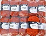500g Sockenwolle Paket, 10x50g Patons Diploma Gold 4ply Fb. 04201 - herbstorange, Wollpaket Sockenwolle zum Stricken und Häkeln
