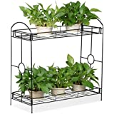 Marshal® Indoor/Outdoor 2-Tier Metal Flower Stand Plant Stand Rack w/Tray Design Garden and Home Black,33.5 x 13.4 x 31.9in.