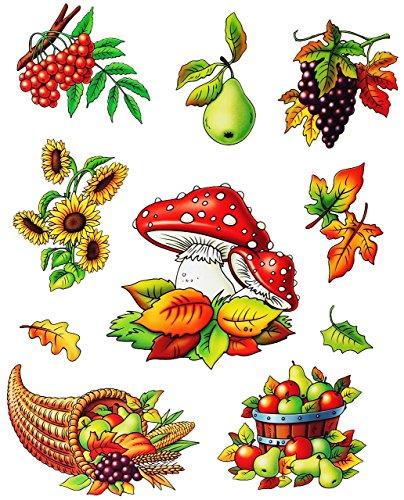Unbekannt 2 versch. Bögen: statisch haftende Fensterbilder -  Herbst - Motive  - Blätter / Eicheln sammeln - Laubblätter / Eicheln Kastanien - Pilz / Kürbis - wiederv.. -
