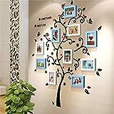 Ein Satz von 9 Stücke Massivholzkombination Foto-Rahmen-Wand Europäisches Wohnzimmer-Schlafzimmer-Korridor-Dekoration-Wand-Aufkleber Moderne minimalistische Art und Weise kreativ ( Farbe : Blau und weiß )