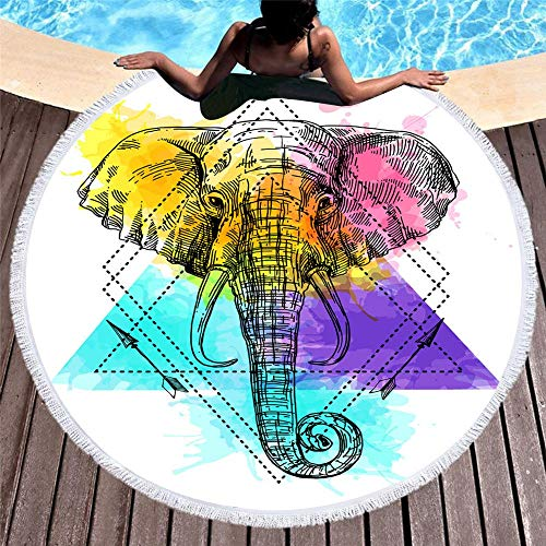 MENGMENGDA Tapiz Redondo De Color Estampado De Elefantes 3D Europa Toalla De...
