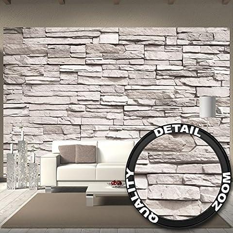 Fototapete White Stonewall Wandbild Dekoration Steintapete 3d Stein Mauer Wandverkleidung Steinoptik weiß Steinwand Steinmauer | Foto-Tapete Wandtapete Fotoposter Wanddeko by GREAT ART (336 x 238