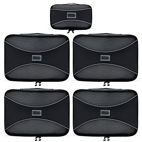 PRO Packing Cubes Packtaschen, Reise Kleidertaschen, Packwürfel, Reisetasche in Koffer, Koffertasche, Wäschebeutel, Schuhbeutel, Ultra-leichte Aufbewahrungstasche, 5-teiliges Set (Graphite)
