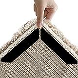 Teppichgreifer, 8 Stück Schwarz / Weiß Anti Curling Teppichgreifer, Antirutsch - Gerade Teppichgreifer für Ecken und Kanten - Anti - Rutsch - Teppich für Teppiche - Ideal Teppich Stopper für Küche Bad (Black)