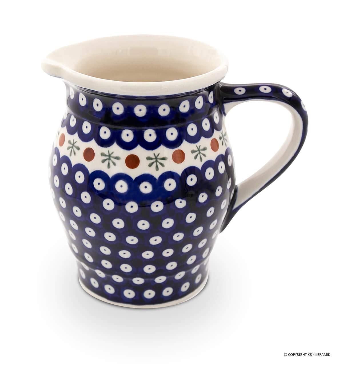 Hand-Decorated Polish Pottery Jug/Ice Tea Jug/Milk Jug 1.4Litre ø18.3cm Height 17.5cm–decor 41