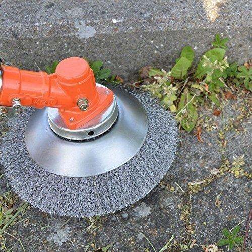 Garden-Line by Tazado Profi Unkrautbürste, Fugenbürste Motorsense Weich Bohrung 25,4mm, Durchmesser 200mm. Borsten aus HSS-Stahl. Bürsten Passen für 99{e121ede7203e20bb573106609259d199d41d21a45d7ee802f9af3ffddd86adac} Aller Motorsensen auf Dem Markt ! (Weich)