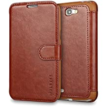 Funda Samsung Galaxy Note 2, Mulbess Samsung Galaxy Note 2 Wallet Case [Marrón] - Funda Cuero con Ranuras Cierre Magnético para Samsung Galaxy Note 2