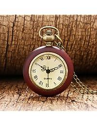 Lepakshi Wood Circle Around Fish Eye Clear Glass Ball Pocket Watch With Chain P13