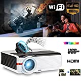 "Proyector HD 5000 lúmenes Android WiFi Multimedia Home Theater Alta definición Digital 1280X800 HD Soporte 1080p 16: 9 4: 3 200 ""Pantalla ancha HDMI para videojuegos Consola Sports Ipad Macbook Airpaly Mirroring Wireless Ratón Teclado(Manual en inglés y Enchufe del Reino Unido)"