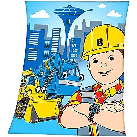 Bob the Builder - Coperta per Bambini - Colore Blu - 110 x 140 cm