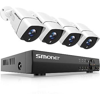 Kit de Surveillance SMONET Système de Sécurité, 4CH 1080P DVR et 4 * 2.0 MP Caméra avec 1T Disque Dur,Vision Nocturne et Étanche, Soutient Accès à Distance Via App dans Smartphone ou PC