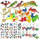 Mattelsen 52 Pcs Granel Juguetes de Dinosaurios Surtidos Aspecto Realista - Juguete de Dedo, Pulsera, Tatuajes y Silbato para Niños Dinosaurios de Cumpleaños Piñata Rellenos y Bolsas Regalo de Fiesta