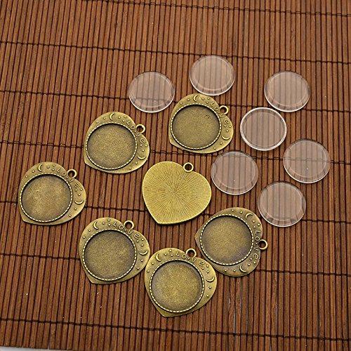Pandahall 10 Set 25mm Cabochon Vetro Trasparente Basi Ciondoli Forma Cuore in Lega Scolpito, Senza Nickel, Lunetta Pendente, Colore Bronzo Antico, 36x32mm