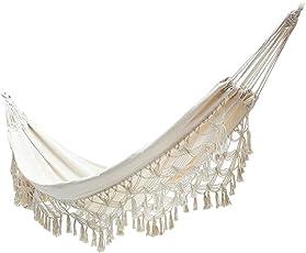 Cutogain Große Doppelt Baumwolle Hängematte Fransen Swing Beach Yard Aufhängen Stuhl Bett