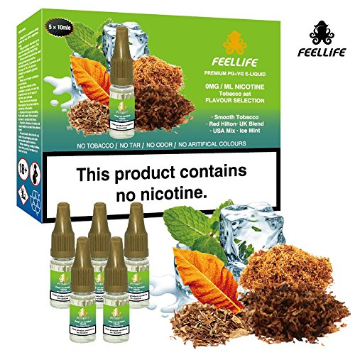 FEELLiFE 5x10ml E Liquid Vape Juice Mixed Tobacco Flavours, Smooth Tobacco|Red Hilton|UK Blend|USA Mix|Ice Mint, Premium PG+VG E-liquid, No Nicotine, Made For E-Cigarette Vape box mod, Vape Pen and E-Shisha, Tobacco Selection.