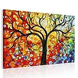 RAIN QUEEN bunter wünschender Baum HD Deko Leinwand Kunstdruck Poster Bild Wandbild Oil Painting Hand-Malerei Aquarell (ready to hang)