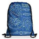 style3 Halcón Milenario Cianotipo Bolsa mochila bolsos unisex gymsac fotocalco azul