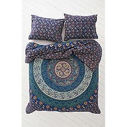 Exclusivo Edredón de Mandala Tradicional Indio con fundas de almohada