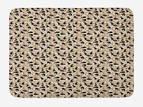 tgyew Cat Bath Mat, Hand Drawn Feline Pattern House Pet Playing with Mouse and a Ball of Yarn, Plush Bathroom Decor Mat with Non Slip Backing, 23.6 W X 15.7 W Inches, Black Tan Sea Green -