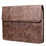 Plemo Custodia in Pelle PU per Laptop da 13,3 Pollici, per MacBook, Laptop o Notebook, con Chiusura Magnetica, Marrone Scuro