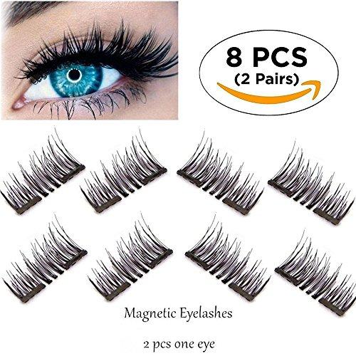 Magnetische Wimpern, ultradünne Faser-Magnet-Wimpern - beste wiederverwendbare gefälschte Wimpern 3D Extensions Kosmetik (Dual Magnetic 8)