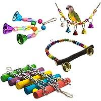 4 pcs/Ensemble Jouet De Cage De Perroquet Suspendu Balançoire Socle Suspendu Pont Cloche Corde Balançoire Oiseaux Jouets…