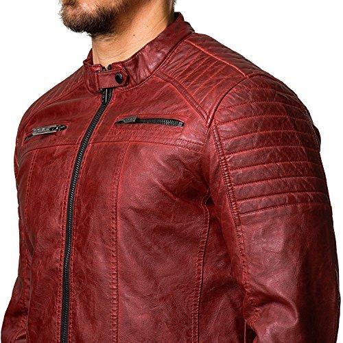 Redbridge Herren Jacke Übergangsjacke Biker Lederjacke Echtleder Kunstleder Baumwolle mit gesteppten Bereichen Rot - Kunstleder