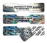 No1Labels Lot d'étiquettes autocollantes hologrammes numérotées en forme d'os de chien/haltère - Étiquettes argentées de sécurité, garantie, validité, inviolables - 45 x 10 mm Silver