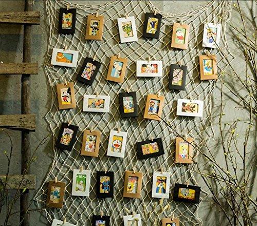 wolle Und Leinen Fischernetz Postkarte Dekorative Foto Wand, Hanf Clip Wand Wand, Hintergrund, Wanddekoration - Handwebart,Diy PersöNlichkeit Kombination FüR Familie,Studio,Etc. , size white mesh combo beautiful (Dekorative Fischernetz)