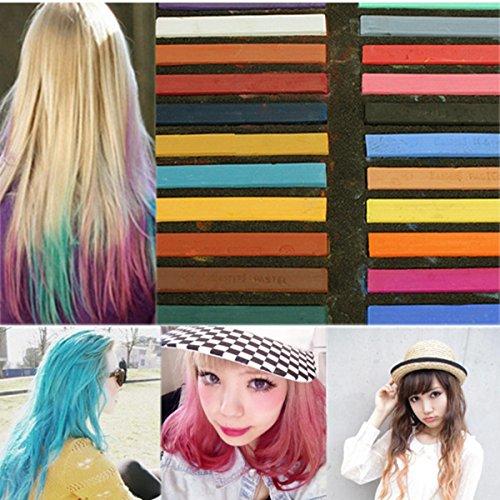 luckyfine 24 couleur coloration temporaire pour cheveux teinture craie crayon coiffure kit - Coloration Cheveux 61