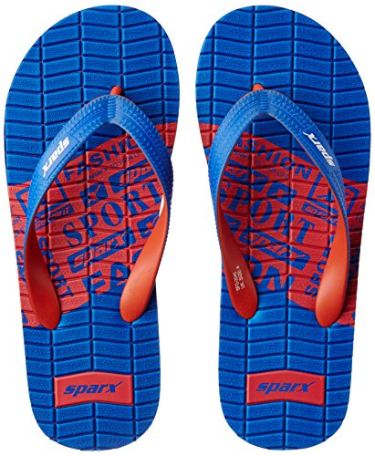 Sparx Men's Royal Blue and Red Flip Flops Thong Sandals - 10 UK/India (44.67 EU)(SF2045GRBRD)  available at amazon for Rs.210