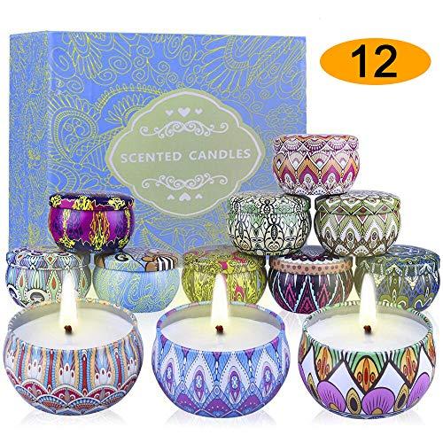 supersun-candele profumate natale,set da 12,regalo da aromaterapia per la mamma/moglie,100% cera naturali di soia candele,confezione regalo natalizia di decorazione della casa