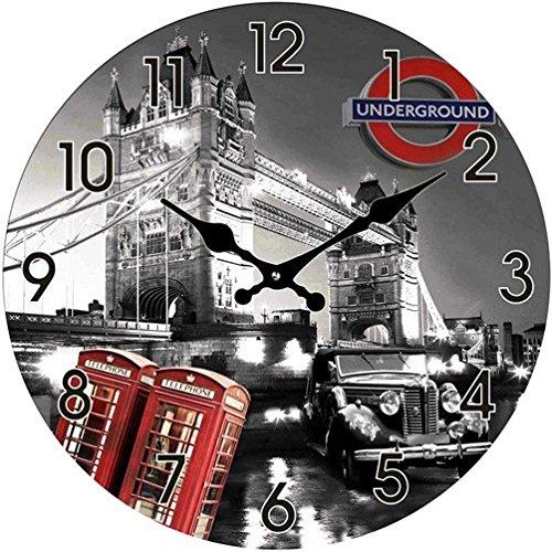 Out of the Blue Glas Uhr London Motive Durchmesser 38 cm, Wanduhr im Vintage Look mit Tower Bridge und roten Telefonzellen, ausgefallenes Geschenk für England und Retro Fans