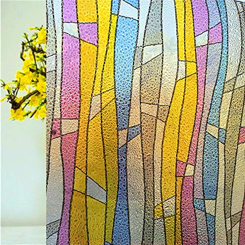 libby-nice Size 45 * 200Cmthickening No-Glue 3D Stained Stripe Window Film Static Tinting Frosted Decorative Privacy Stickers - Libby Stripe