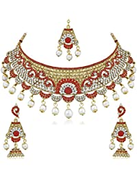 PALASH GLITZY NECKLACE SET WITH PINK AND WHITE COLOR STONES WITH MANGTIKA