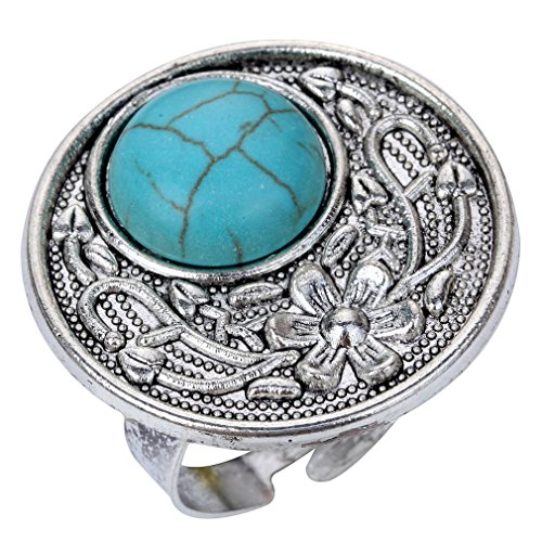 Yazilind exquisita flor de la vendimia tallada gran anillo de plata tibetana Ronda Rimous incrustaciones de turquesa